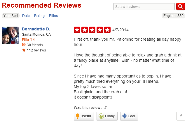 An example of a Yelp review.