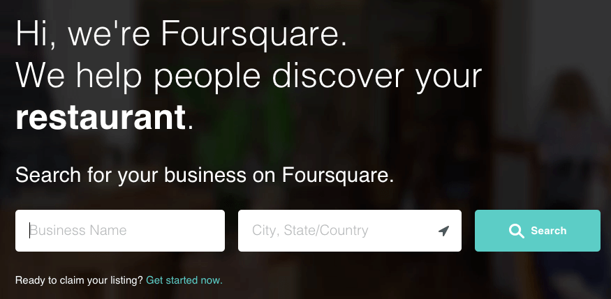 Search form for finding a business on Foursquare