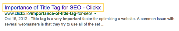 Screenshot of a Google search result, highlighting the title tag