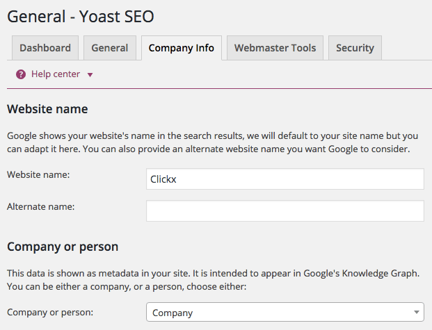Screenshot of setting your company info in Yoast SEO