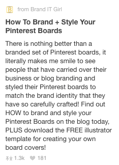 A branded Rich Pin example on Pinterest.