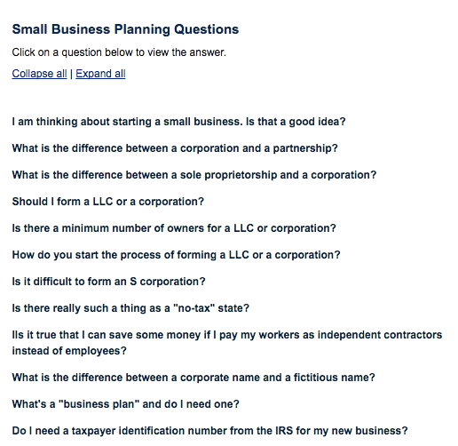 An example of a FAQ page.
