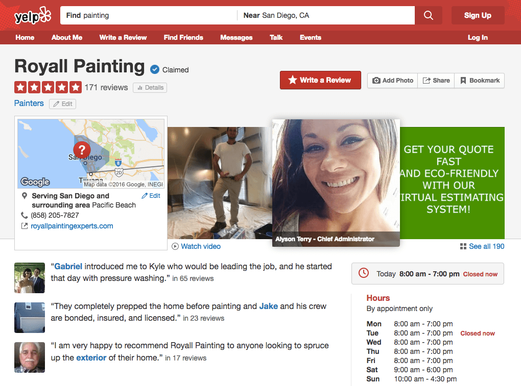 A screenshot of Yelp, a popular third-party review site.