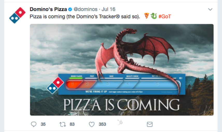 Domino's Game of Thrones Pizza Tracker
