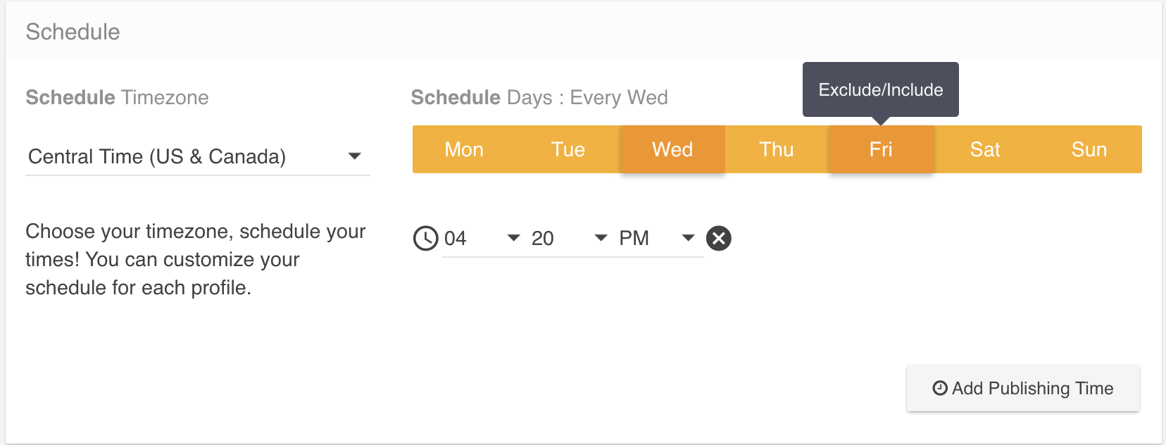 Screenshot of scheduling tool within the Social feature of the Clickx App.